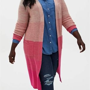 Torrid Pink Ombre Stripe Slouchy Duster Sweater 3X NWT